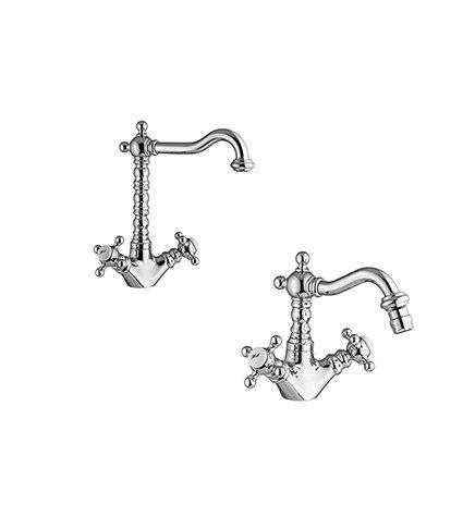 Miscelatore rubinetto lavabo e bidet con pilette di scarico, Vivaldi Gattoni