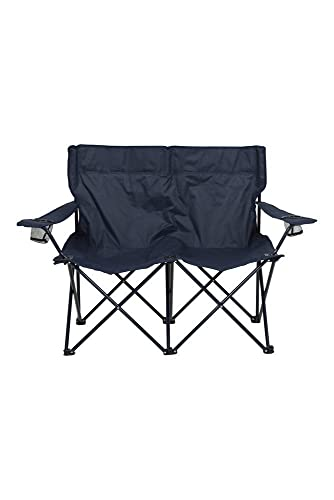 Mountain Warehouse Double Folding Chair - Lightweight Fold Up Chair, Carry Strap Lounge Chair, Durable Stool - Best for Outdoor, Camping, Garden, Beach & Poolside Navy