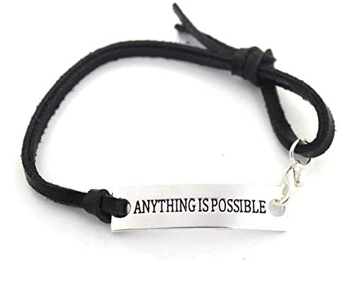 YOYONY Silver Stamped Anything is Possible Adjustable Leather Inspirational Bracelet, Great Gifts for Yourself and The People You Love and Care!