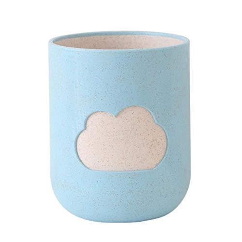 LLAAIT Fashion Cloud Patroon Tandenborstel Cup Tarwe Straw mondwater Cup Badkamer Tumblers Badkamer Product Huishoudelijk Blauw/Licht Rood/Groen, VB0972L