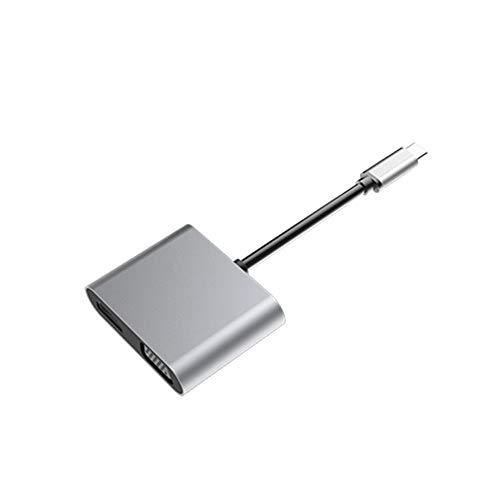 Adaptateur USB C vers HDMI, Adaptateur de Conversion HD Adaptateur de Type C à HDMI 4k Adaptateur Audio-vidéo VGA 4-en-1 de Type C à HDMI