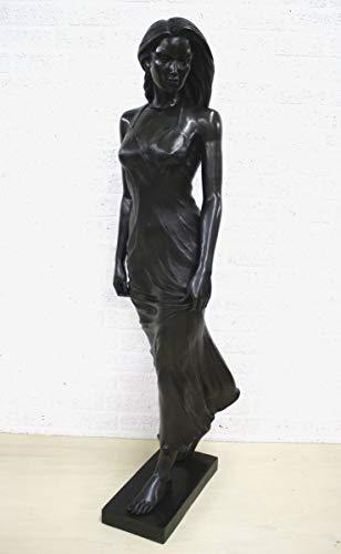 H. Packmor GmbH Bronzen sculptuur staande vrouw Emily in zomerjurk zwart tuindecoratie