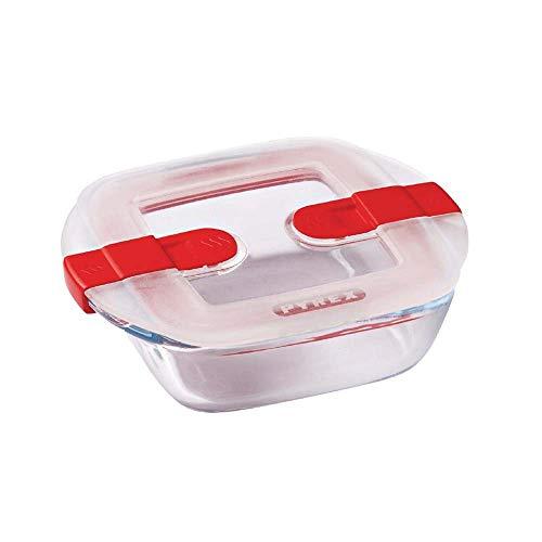 Pyrex Cook & Heat contenitore quadrato per alimenti in vetro borosilicato con coperchio sfiatavapore per il microonde – cuocere in forno, conservare & riscaldare - 20x17cm -