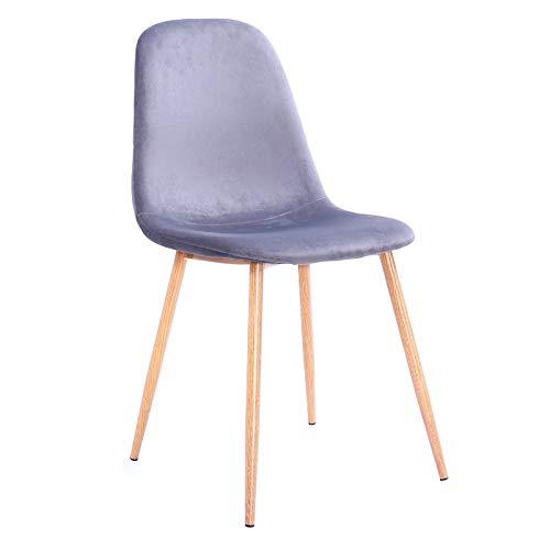 Muebles MARIETA | Silla de Diseño Greta Grey | Silla de Acero Tapizada en Terciopelo Gris | Silla Decoración e Interiorismo | Medidas: 48x43x78cm | Color Madera y Gris