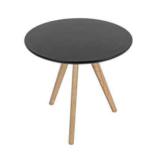 Bizzotto Luxembourg Table Basse, Bois Chêne/MDF, Noir, Diamètre 50 x 50 cm