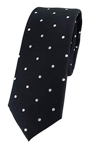 TigerTie - Corbata de seda de diseño estrecho con lunares estampados. negro, plateado y blanco. Talla única