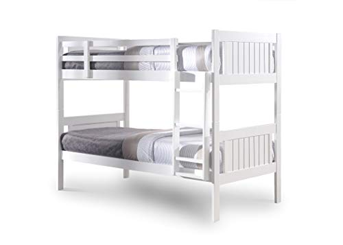 Glory single bunk bed in white with paris mattress Standard Two Sleeper 3' Solid Pine Wood Bunk Bed Frame
