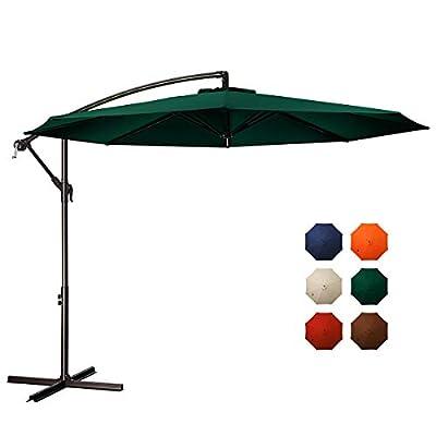 MEWAY 10ft Outdoor Umbrella Backyard Umbrella Deck Umbrella Cantilever Patio Umbrella with Crank & Cross Base, Easy to Instal (10ft, Green)