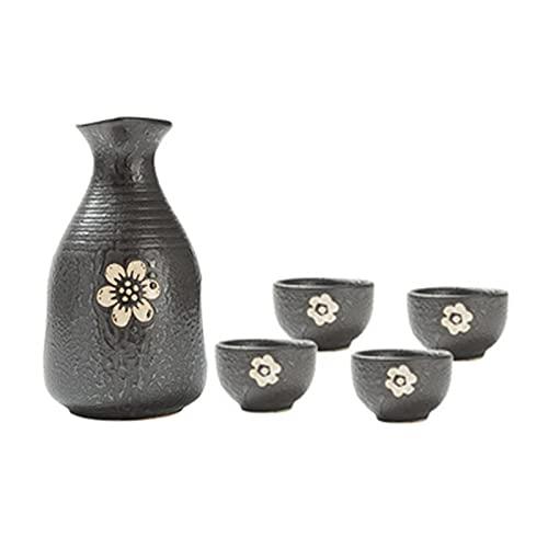 BaiJaC Taza de Sake Japonés, Japonés Estilo Nieve escama Negro gres Vino Conjunto de Vino, japonés cerámica Sake Conjunto una Olla Cuatro Tazas Sake Botella de espíritu Vino Taza