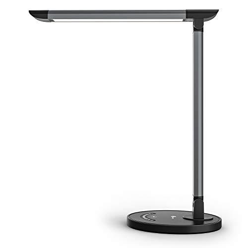 TaoTronics Schreibtischlampe LED 12W Büro Tischleuchte 5 Farb und 7 Helligkeitsstufen dimmbar Memory-Funktion USB-Anschluss für Aufladung des Smartphones Tischlampe Augenschutz Touchfeldbedienung