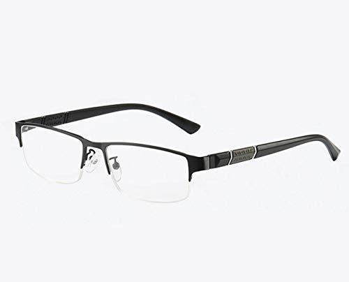DAFREW Männliche und weibliche Lesebrille, hochauflösende Harzlinsen, alte Brille, Alu-Rahmen, Ultraleicht und langlebig (Farbe : SCHWARZ, größe : 1.0X)