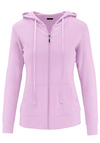 ClothingAve. Womens Lightweight Comfy Zip-Up Hoodie | Active, Casual, Running Cotton Blend Long Sleeve Jacket Zip-Up - Lavender Medium