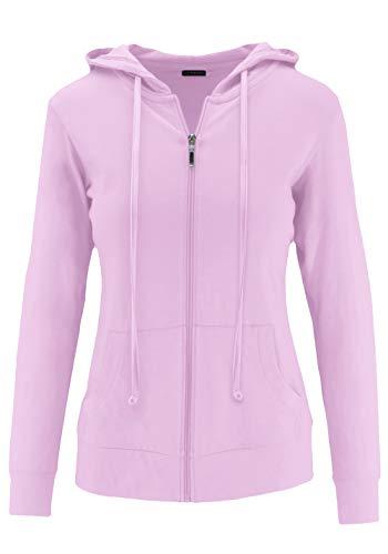 ClothingAve. Women's Lightweight Comfy Zip-Up Hoodie | Active, Casual, Running Cotton Blend Long Sleeve Jacket Zip-Up - Lavender Medium