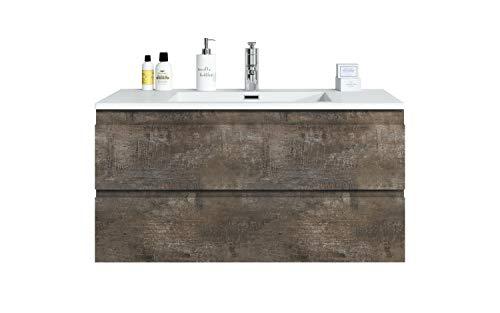 Badezimmer Badmöbel Set Angela 100cm Stone ash - Unterschrank Schrank Waschbecken Waschtisch
