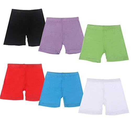 6 Stück Tanz-Shorts für Mädchen, Fahrrad-Slip, Tanz, Fahrrad-Shorts, kurz, atmungsaktiv und sicher für Sport oder unter Röcken, 6 Farben