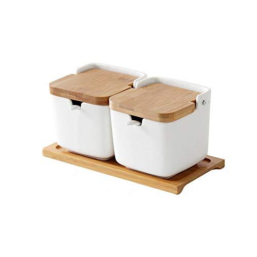 OnePine Set di 2 portaspezie in Ceramica, condimenti Contenitore Zuccheriera con Coperchio Cucchiaio Vassoio, Design Elegante, per Casa e Cucina