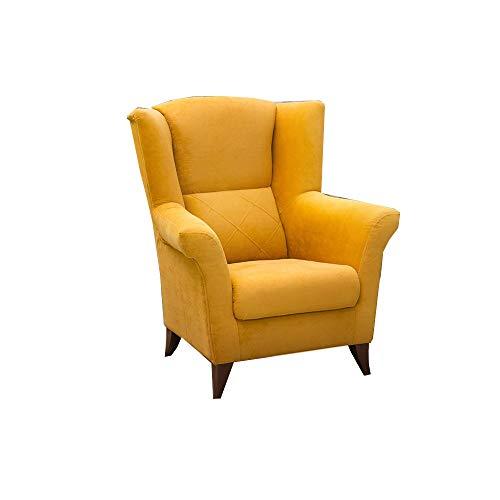 MOEBLO Sessel Stoffe Ohrensessel Samt Armlehnensessel Fernsehsessel Polstersessel Federkern - EIVA (Gelb)
