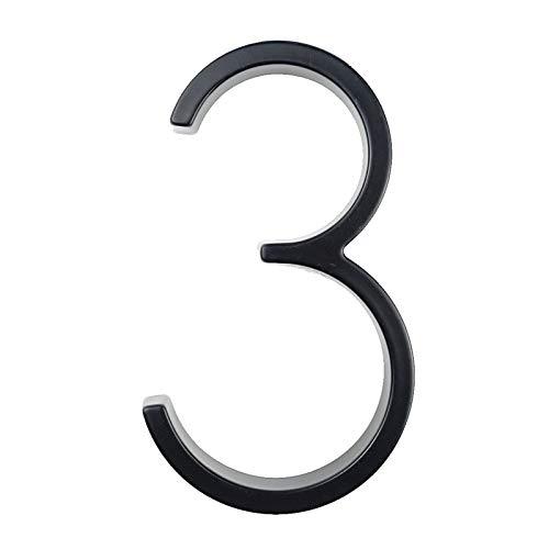 KSHYE 12 cm Big 3D Casa Moderna Número de la casa Números de dirección de la casa para la casa Número de la casa Puertas Digitales Placas de Signos al Aire Libre 5 Pulgadas 0-9 Negro (Color : 3)