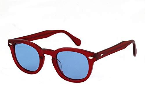 X-LAB occhiali da sole 8004 stile moscot Occhiali da sole uomo Unisex (Bordeaux, Azzurro)
