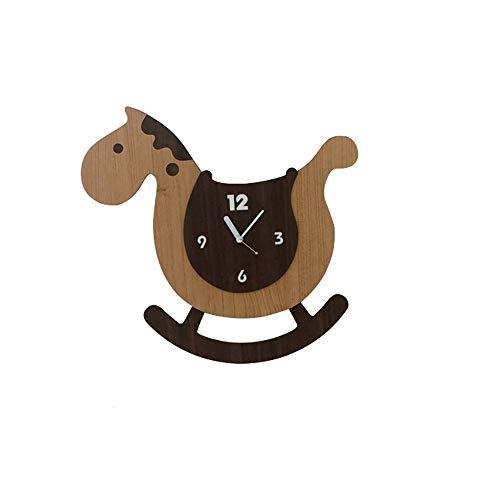 WHSS Wall Clocks Rocking Trojan Clock Creative Wall Clock Cartoon Cute Child Bedroom Silent Clock