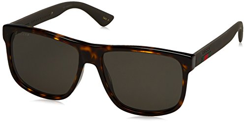 Gucci Men GG0010S 58 Tortoise/Grey Sunglasses 58mm