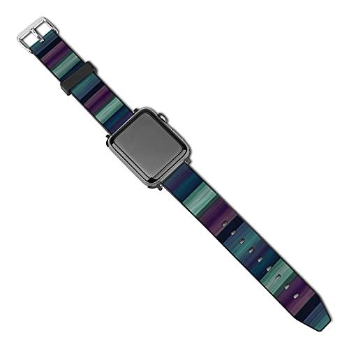 Correa de repuesto para reloj Apple Watch de 38 mm y 40 mm, correa de repuesto para iWatch Series 5/4/3/2/1, patrón de rayas de acuarela, color morado, azul, verde y azul