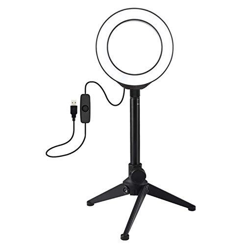 Anillo de luz para selfie, 4,7 pulgadas, 12 cm, trípode de escritorio, soporte para palo selfie con luz blanca USB, anillo de luz LED, kit de luces de vídeo para fotografía en vivo