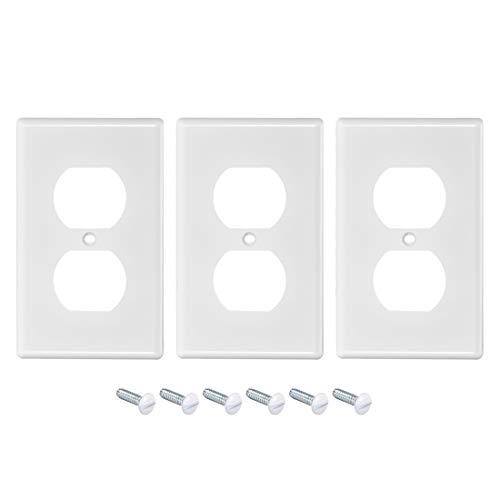sourcing map Clásica Arquitectura Dúplex Decorativa Pared Placa Interruptor Placa Cubierta 2.76-pulgadas x 4.49-pulgadas para Luz Interruptor Receptáculo Salida Pared Placa 3uds