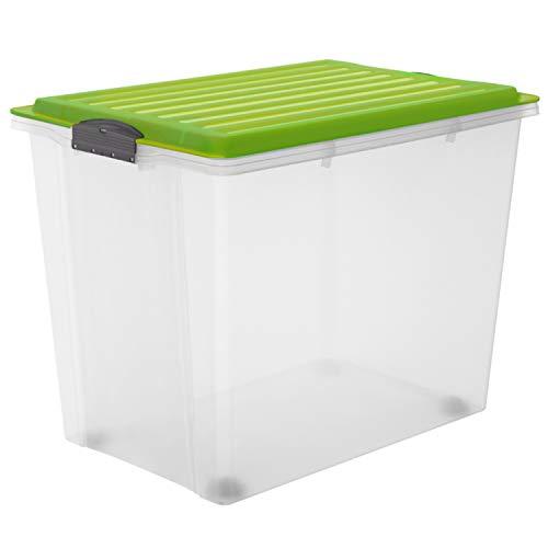 Rotho Compact Aufbewahrungsbox 70 l mit Deckel und Rollen, Kunststoff (PP), grün / transparent, 70 Liter (57 x40 x 43,5 cm) / A3
