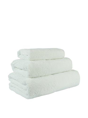 Flor de Algodón Panama Juego de 3 toallas algodón, BLANCO, 30x50, 50x90, 100x140, 3