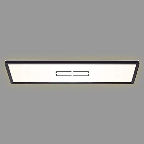 Briloner Leuchten - LED Deckenleuchte Deckenlampe mit Hintergrundbeleuchtungseffekt 22 Watt 2.700 Lumen 4.000 Kelvin Weiß-Schwarz 580x200x29mm (LxBxH) 3394-015