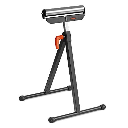 HOMCOM Folding Roller Stand Metal Construction Black Material Support Pedestal with Ball Bearing Roller Height Adjustable Portable