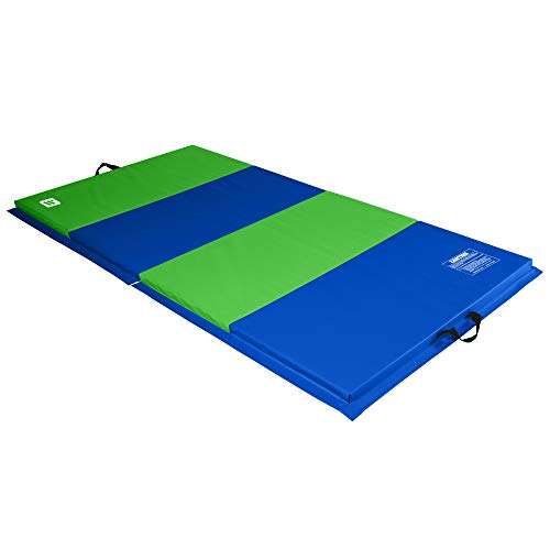 We Sell Mats 4 ft x 8 ft x 2 in Personal Fitness & Exercise Mat, Lightweight and Folds for Carrying, Lime Green/Blue