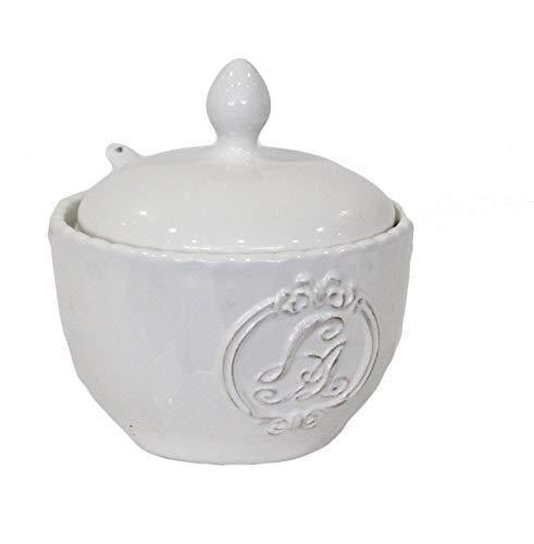 Keyhome zuccheriera in Ceramica in Stile Vintage Shabby Bianco Lucido (Zuc)