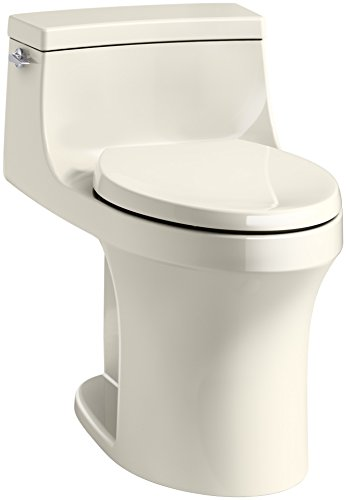KOHLER K-5172-47 San Souci Comfort Height Compact Elongated 1.28 GPF Toilet with AquaPiston Flushing Technology and Left-Hand Trip Lever, Almond, 1-Piece