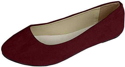 Stiefel Damen Flachschuhe Einzel Schuhe Frauen Sandalen Casual Halbschuhe Comfort Sohle Freizeitschuh Wildleder,WeinRot,EU 40