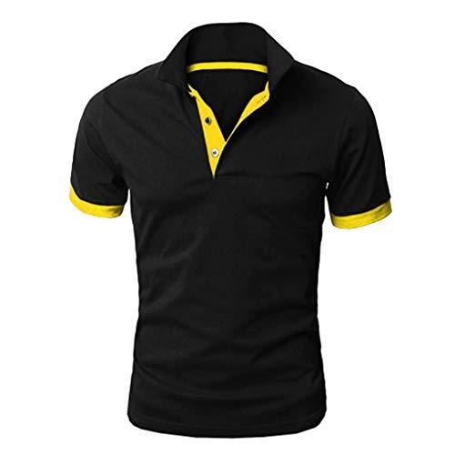 Yowablo Herren Poloshirt Polo Polohemd Kurzarmshirt Shirt Basic Mode Patchwork Shirt Double Color T-Shirts Top Blusen (3XL,Gelb)
