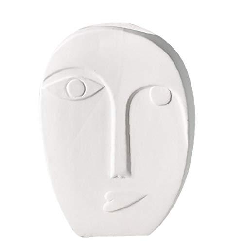 OMMO LEBEINDR Menschliches Gesicht Vase Blumentopf Keramik Weiß Nordic Dekoration für Home Office Tabletop für Home Office (14.5x10.3x4.5cm) ?OPP?