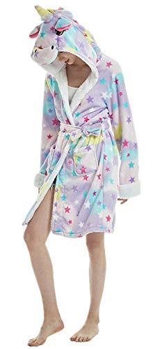 Re-Miss  Erwachsenen Tier Cartoon Einhorn Panda Flusspferd Bademantel Flanell Fleece Kapuze Halloween Weihnachten Karneval Cosplay Robe, Unicorn Star ,  L für Höhe 165cm-175cm