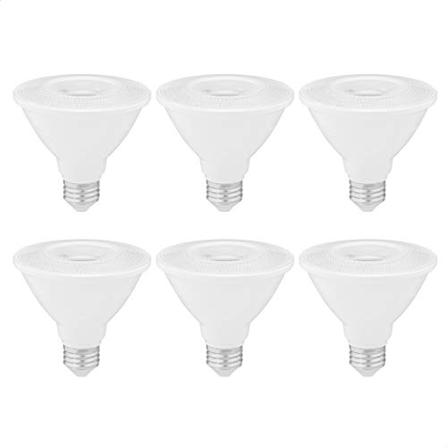AmazonCommercial 75 Watt Equivalent, 15000 Hours, Dimmable, 800 Lumens, Energy Star Compliant, E26 Base, PAR30 Short Neck LED Light Bulb - Pack of 6, Soft White