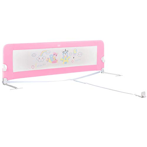 BABY JOY Bed Rails for Toddlers, 69 Inch Extra Long w/Safety Straps, Swing Down Safety Bed Guard for Convertible Crib, Folding Baby Bedrail for Kids Twin Double Full Size Queen & King Mattress (Pink)