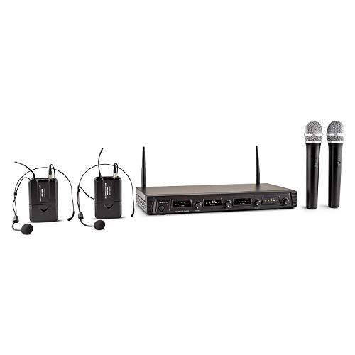 Malone Duett Quartett Fix V2 juego de micrófonos inalámbricos (UHF, 2 micrófonos manuales dinámicos, 2 micrófonos auriculares, alcance 50 metros, batería de larga duración)