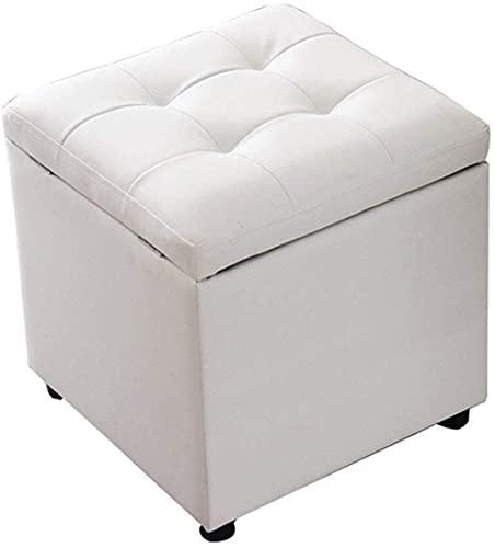 FSYGZJ Reposapiés para Cambiar Zapatero Cube otomana Taburete Otomano Silla Cuadrada con reposapiés tapizado  Pasillo MAX, 150 Kg, 40 X 40 X 40 cm (Tamaño: Blanco)