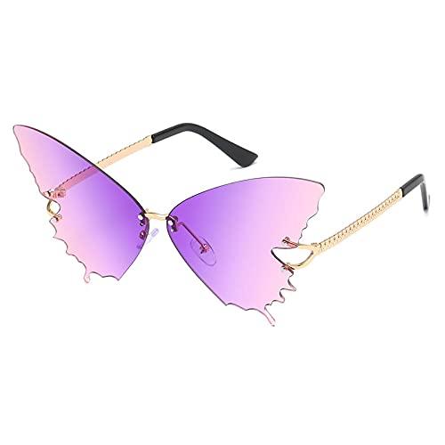 Único Gafas de Sol Sunglasses Gafas De Sol Sin Montura De Mariposa para Mujer Gafas De Sol De Gran Tamaño Cateye Gafas D