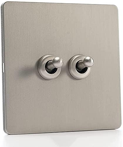 Ploutne Gris Pared luz Interruptor Interruptor Cepillado casa 86 Tipo Retro Alternativa Interruptor de Plata de Acero Inoxidable Panel Mate 1-4 pandilla Switch USB Socket 10a 110-250v Retro Interrupt