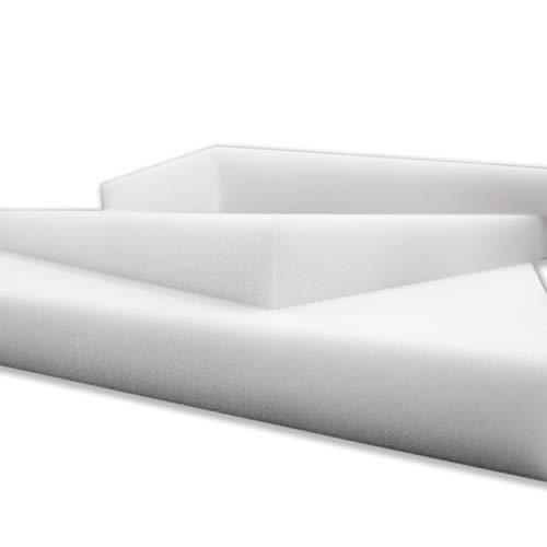 Panini Tessuti Ritagli di GOMMAPIUMA Gomma Piuma in Poliuretano per Imbottitura, rimepimento cm: 40x40x3, 60x130x2, 100x200x2, 100x100x3, 100x200x3 Colore Bianco Alta qualità