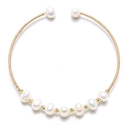 CandyT Pulseras de Mujer, Pulseras de Cadena de Perlas de Lujo Ajustables, brazaletes, Pulseras envolventes Hechas a Mano, Regalo de cumpleaños