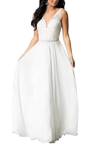 SongSurpriseMall Abendkleider Lang Chiffon Ballkleider V Ausschnitt Perlenstickerei Brautkleider Hochzeitskleider Weiß EU44