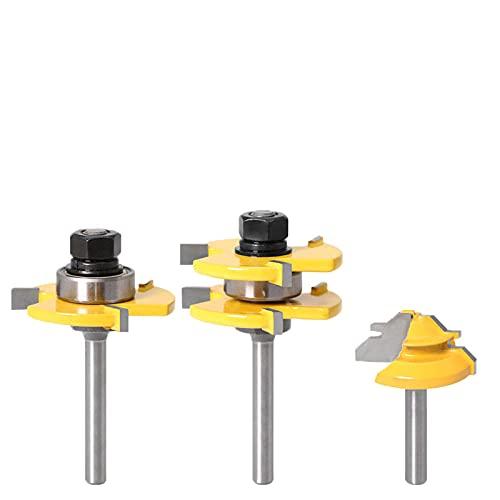 3 piezas de herramienta de enrutamiento de lengua y trinchera de 6 mm, con pequeños bloques de 45 °