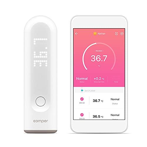 Comper Termómetro Infrarrojos de Frente Inteligente para Bebés y Adultos, Admite el registro y la gestión de las tendencias de los datos de temperatura de varios usuarios, Termómetro Medición Precisa